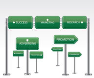 Marketing green road signs Royalty Free Stock Photography