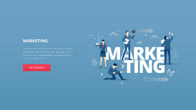 Marketing hero banner. Vector illustrative hero banner of marketing. Marketing hero website header with men and women business characters around words `marketing Royalty Free Stock Photo