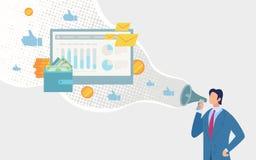 Marketing in het Sociale Vectorconcept van Netwerkfla stock illustratie
