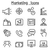 Marketing icon set in thin line style Stock Image