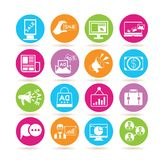 Marketing icons. Collection of 16 marketing icons in colorful buttons Royalty Free Stock Photo