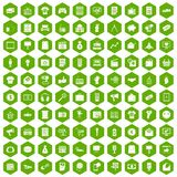 100 marketing icons hexagon green. 100 marketing icons set in green hexagon isolated vector illustration Royalty Free Stock Images