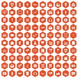 100 marketing icons hexagon orange Stock Image