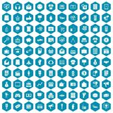 100 marketing icons sapphirine violet. 100 marketing icons set in sapphirine hexagon isolated vector illustration vector illustration