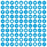 100 marketing icons set blue. 100 marketing icons set in blue hexagon isolated vector illustration royalty free illustration