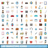 100 marketing icons set, cartoon style. 100 marketing icons set in cartoon style for any design vector illustration Royalty Free Stock Photography