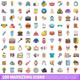 100 marketing icons set, cartoon style Royalty Free Stock Images
