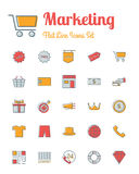 Marketing  icons set flat line style. Vector marketing  icons set flat line style Royalty Free Stock Photography