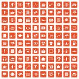 100 marketing icons set grunge orange. 100 marketing icons set in grunge style orange color isolated on white background vector illustration stock illustration