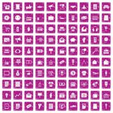 100 marketing icons set grunge pink. 100 marketing icons set in grunge style pink color isolated on white background vector illustration stock illustration