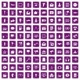 100 marketing icons set grunge purple. 100 marketing icons set in grunge style purple color isolated on white background vector illustration Stock Image