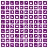 100 marketing icons set grunge purple Stock Image
