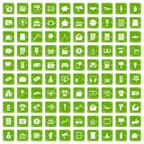 100 marketing icons set grunge green Stock Photography