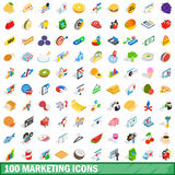 100 marketing icons set, isometric 3d style Royalty Free Stock Images