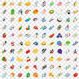 100 marketing icons set, isometric 3d style Royalty Free Stock Photo