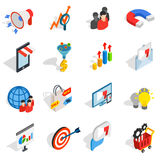 Marketing icons set, isometric 3d style. Marketing icons in isometric 3d style. Media set collection isolated vector illustration Royalty Free Stock Photography