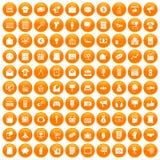 100 marketing icons set orange. 100 marketing icons set in orange circle isolated on white vector illustration Royalty Free Stock Image