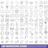 100 marketing icons set, outline style Stock Images