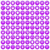100 marketing icons set purple. 100 marketing icons set in purple circle isolated on white vector illustration royalty free illustration