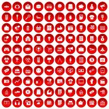 100 marketing icons set red. 100 marketing icons set in red circle isolated on white vector illustration Stock Images