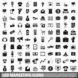 100 marketing icons set, simple style. 100 marketing icons set in simple style for any design vector illustration Royalty Free Stock Image