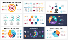 Marketing infographic, cycle diagram, global business graph, circle presentation chart. 3, 4, 5, 6, 7 options, parts. Circle arrows diagram for graph infographic Royalty Free Stock Image