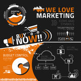 Marketing infographic elements, icons and symbols. Marketing  infographics elements for business reports and presentations Stock Photography
