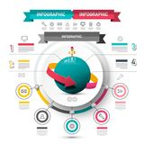 Marketing Infographic Vector Design. Circle Infographics Concept with Icons, Rocket Launch and Arrow Spinning around Globe. Five Steps Data Flow Chart Layout royalty free illustration