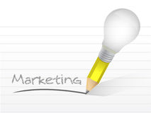 Marketing innovation handwritten with a lightbulb Royalty Free Stock Photo