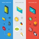Marketing Isometric Banners Stock Image