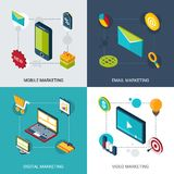 Marketing Isometric Set Royalty Free Stock Images