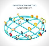 Marketing Isometrische Infographics Royalty-vrije Stock Foto's