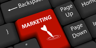 Marketing on keyboard Enter Royalty Free Stock Photography