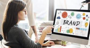 Marketing-Konzept des Marken-Markenartikelwerbungs-eingetragenen Warenzeichens Stockfotografie