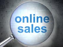 Marketing-Konzept: Online-Verkäufe mit optischem Glas Stockbild