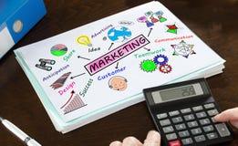 Marketing-Konzept veranschaulicht auf einem Papier Lizenzfreies Stockfoto