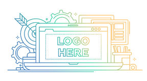 Marketing - line design illustration with copyspace for Logo Stock Photography
