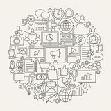 Marketing Line Icons Circle. Vector Illustration of Digital Outline Objects Royalty Free Stock Photo