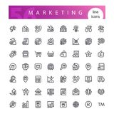 Marketing Line Icons Set. Set of 56 marketing line icons suitable for web, infographics and apps. Isolated on white background. Clipping paths included Royalty Free Stock Photography