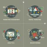 Marketing Management, Digital Marketing, Analytics, Brainstorming. Marketing Management, Digital Marketing, Analytics and Brainstorming flat line concepts stock illustration