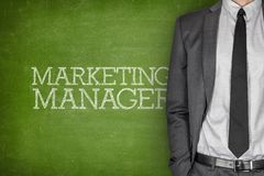 Marketing manager on blackboard Stock Photos