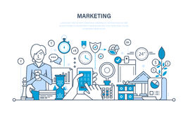 Marketing, market research, management and control strategy, statistics, reporting. Marketing and market research, management and control strategy, statistics Stock Photos