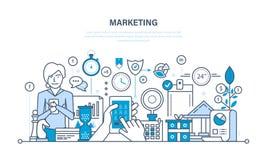 Marketing, marktonderzoek, beheers en controlestrategie, statistieken, rapportering vector illustratie