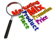 Marketing mix. The 4 p's of marketing mix, product place price and promotion under a lens, showing detailed analysis and knowledge of the marketing field Royalty Free Stock Photos