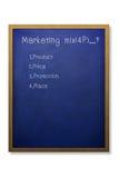 Marketing mix 4P. On blue grunge chalkboard Vector Illustration