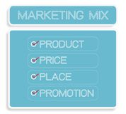 Marketing Mix Strategy or 4Ps Conceptual Model. Business Concepts, Illustration of Marketing Mix or 4Ps Model for Management Strategy Diagram in Blue Colors. A Stock Photos