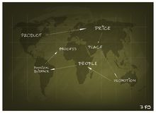 Marketing Mix Strategy or 4Ps Model on World Map Royalty Free Stock Photography