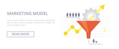 Marketing Model flat illustration. Concept with sales funnel and flow of customers. stock illustration