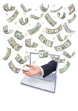 Marketing Money Commerce Computer. A hand reaching out from a laptop computer catching american money that is raining down. Or an online jackpot Royalty Free Stock Images