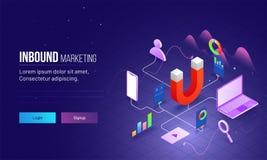 Marketing naderend gebaseerd isometrisch ontwerp met magneet als product royalty-vrije illustratie